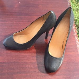 J Crew black leather 3-3.5 inch heels